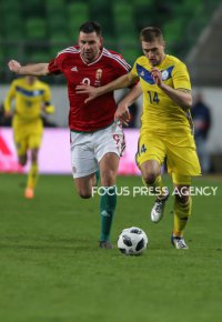 Adam Szalai of Hungary competes for the ball with Murtazayev Roman of Kazakhstan during friendly football match between Hungary and Kazakhstan at Groupama Arena on March 23, 2018 in Budapest, Hungary.