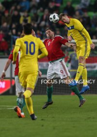 Adam Szalai of Hungary competes for the ball with Malyy Sergey of Kazakhstan during friendly football match between Hungary and Kazakhstan at Groupama Arena on March 23, 2018 in Budapest, Hungary.