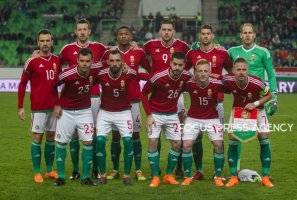 Team of Hungary before the match during friendly football match between Hungary and Kazakhstan at Groupama Arena on March 23, 2018 in Budapest, Hungary.