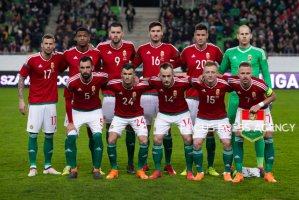 Team Hungary before the friendly football match between Hungary and Scotland at Groupama Arena on March 27, 2018 in Budapest, Hungary.