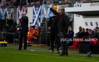 Head of coaches Gerges Leekens of Hungary and Alex McLeish of Scotland give instruction during the friendly match between Hungary and Scotland at Groupama Arena on March 27, 2018 in Budapest, Hungary.