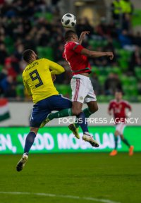Matt Philips of Scotland competes for the ball with Otigba Kenneth of Hungary during the friendly match between Hungary and Scotland at Groupama Arena on March 27, 2018 in Budapest, Hungary.