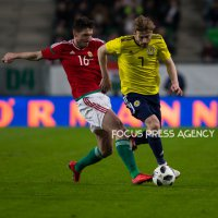 Adam Pintér of Hungary competes for the ball with Stuart Armstrong of Scotland during the friendly match between Hungary and Scotland at Groupama Arena on March 27, 2018 in Budapest, Hungary.