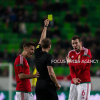 Akos Elek of Hungary gave his yellow card during the friendly match between Hungary and Scotland at Groupama Arena on March 27, 2018 in Budapest, Hungary.