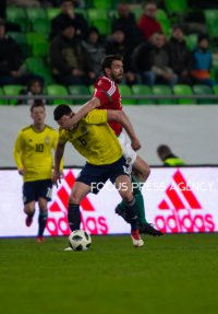 Scott McKenna of Scotland competes for the ball with Daniel Böde of Hungary during the friendly match between Hungary and Scotland at Groupama Arena on March 27, 2018 in Budapest, Hungary.