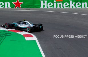 Valtteri Bottas of Finland and Mercedes Team driver goes during the first practice at Formula One Azerbaijan Grand Prix on April 27, 2018 in Baku, Azerbaijan.