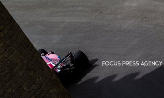 Esteban Ocon of French and Force India Team driver goes during the first practice at Formula One Azerbaijan Grand Prix on April 27, 2018 in Baku, Azerbaijan.