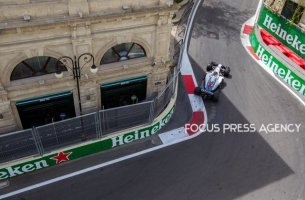 Lance Stroll of Canada and Williams Team driver goes during the first practice at Formula One Azerbaijan Grand Prix on April 27, 2018 in Baku, Azerbaijan.