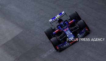 Pierre Gasly of France and Toro Rosso Team driver goes during the first practice at Formula One Azerbaijan Grand Prix on April 27, 2018 in Baku, Azerbaijan.