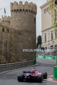 Sergio Perez of Mexico and Force India Team driver goes during the first practice at Formula One Azerbaijan Grand Prix on April 27, 2018 in Baku, Azerbaijan.