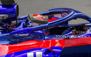 Brendon Hartley of New Zealand and Toro Rosso Team driver goes during the first practice at Formula One Azerbaijan Grand Prix on April 27, 2018 in Baku, Azerbaijan.