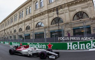 Marcus Ericsson of Sweden and Sauber Team driver goes during the first practice at Formula One Azerbaijan Grand Prix on April 27, 2018 in Baku, Azerbaijan.