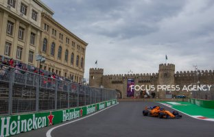 Fernando Alonso of Spain and McLaren Honda Team driver goes during the third practice at Formula One Azerbaijan Grand Prix on April 28, 2018 in Baku, Azerbaijan.