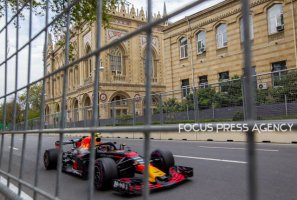 Max Verstappen of Netherland and Red Bull Racing Team driver goes during the third practice at Formula One Azerbaijan Grand Prix on April 28, 2018 in Baku, Azerbaijan.