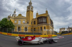 Marcus Ericsson of Sweden and Sauber Team driver goes during the third practice at Formula One Azerbaijan Grand Prix on April 28, 2018 in Baku, Azerbaijan.