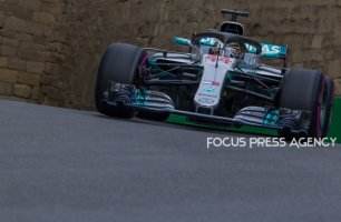 Lewis Hamilton of Great Britain and Mercedes Team driver goes during the qualification at Formula One Azerbaijan Grand Prix on April 28, 2018 in Baku, Azerbaijan.