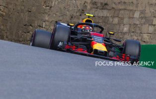 Max Verstappen of Netherland and Red Bull Racing Team driver goes during the qualification at Formula One Azerbaijan Grand Prix on April 28, 2018 in Baku, Azerbaijan.