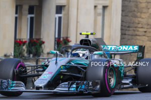 Valtteri Bottas of Finland and Mercedes Team driver goes during the qualification at Formula One Azerbaijan Grand Prix on April 28, 2018 in Baku, Azerbaijan.
