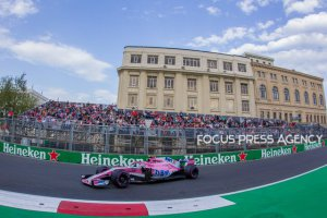 Esteban Ocon of French and Force India Team driver goes during the qualification at Formula One Azerbaijan Grand Prix on April 28, 2018 in Baku, Azerbaijan.