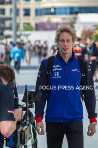 Pierre Gasly of France and Toro Rosso driver arrives to paddock before practice session at Azerbaijan Formula 1 Grand Prix on Apr 27, 2018 in Baku, Azerbaijan.