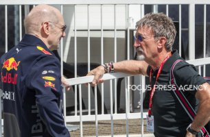 Adrian Newey the Chief Technical Officer of Red Bull Racing and  former F1 driver Eddie Jordan talk at paddock before practice session at Azerbaijan Formula 1 Grand Prix on Apr 27, 2018 in Baku, Azerbaijan.