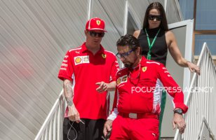Kimi Räikkönen of Finland and Scuderia Ferrari driver and his wife Minttu Virtanen arrive to paddock before practice session at Azerbaijan Formula 1 Grand Prix on Apr 27, 2018 in Baku, Azerbaijan.