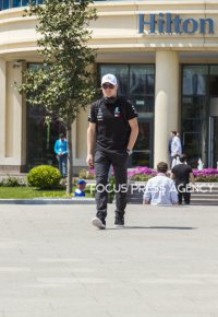 Valtteri Bottas of Finland and Mercedes AMG Petronas driver arrives to paddock before practice session at Azerbaijan Formula 1 Grand Prix on Apr 27, 2018 in Baku, Azerbaijan.