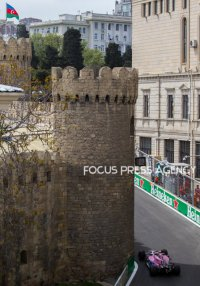 Esteban Ocon of France and Sahara Force India driver goes during the practice session at Azerbaijan Formula 1 Grand Prix on Apr 27, 2018 in Baku, Azerbaijan.