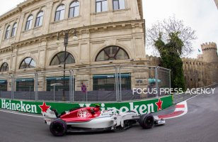 Charles Leclerc of Monte-Carlo and Alfa Romeo Sauber F1 Team driver goes during the practice session at Azerbaijan Formula 1 Grand Prix on Apr 27, 2018 in Baku, Azerbaijan.
