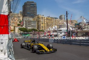 Nico Hulkenberg of Germany and Renault Team driver goes during the practice at Grand Prix de Monaco on May 26, 2018 in Monte Carlo, Monaco.