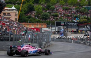 Esteban Ocon of France and Sahara Force India driver goes during the race on Formula 1 Grand Prix de Monaco on May 27, 2018 in Monte Carlo, Monaco.