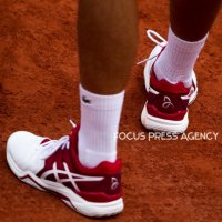 Shoes of Novak Djokovic at Roland Garros Grand Slam Tournament - Day 4 on May 30, 2018 in Paris, France.