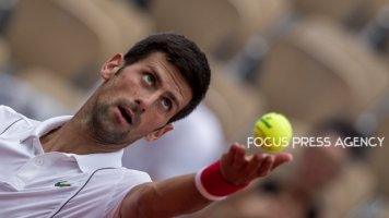 Novak Djokovic of Serbia serves against Jaume Munar of Spain during the second round at Roland Garros Grand Slam Tournament - Day 4 on May 30, 2018 in Paris, France.