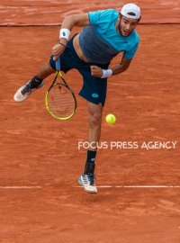 Matteo Berrettini of Italy serves against Dominic Thiem of Austria during the third round at Roland Garros Grand Slam Tournament - Day 6 on June 01, 2018 in Paris, France.