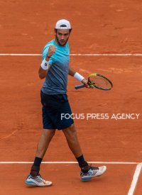 Matteo Berrettini of Italy during the third round at Roland Garros Grand Slam Tournament - Day 6 on June 01, 2018 in Paris, France.