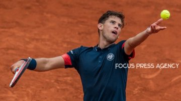 Dominic Thiem of Austria serves against Matteo Berrettini of Italy during the third round at Roland Garros Grand Slam Tournament - Day 6 on June 01, 2018 in Paris, France.