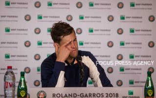 Dominic Thiem of Austria gives an interview after he defeated Kei Nishikori of Japan during the fourth round at Roland Garros Grand Slam Tournament - Day 8 on June 03, 2018 in Paris, France.