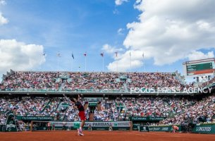 Novak Djokovic of Serbia serves against Fernando Verdasco of Spain during the fourth round at Roland Garros Grand Slam Tournament - Day 8 on June 03, 2018 in Paris, France.