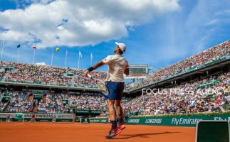 Fernando Verdasco of Spain returns the ball to Novak Djokovic of Serbia during the fourth round at Roland Garros Grand Slam Tournament - Day 8 on June 03, 2018 in Paris, France.
