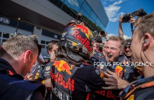 The winner Max Verstappen of Netherlands and Red Bull Racing Team driver with his team after he won the race at Austrian Formula One Grand Prix on July 01, 2018 in Red Bull Ring, Spielberg, Austria.