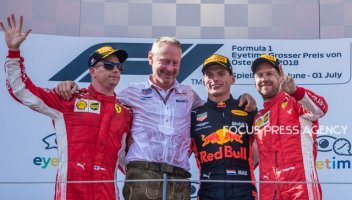 The winners 1st Max Verstappen, 2nd Kimi Raikkonen and 3rd Sebastian Vettel on the podium after the race at Austrian Formula One Grand Prix on July 01, 2018 in Red Bull Ring, Spielberg, Austria.