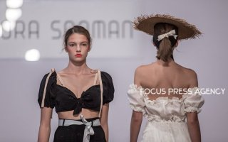 A models present a creation by Hungarian designer Nora Sarman during ELLE Fashion Show 2018 on Sept 29, 2018 at Société Budapest in Budapest, Hungary.