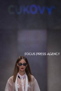 A model presents a creation by Hungarian designer Cukovy during Budapest Central European Fashion Week 2018 on Okt. 25, 2018 at Várkert Bazár in Budapest, Hungary.
