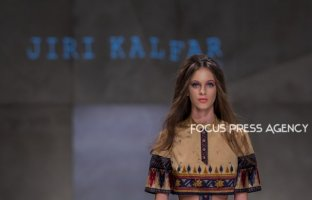 A model presents a creation by Czech designer Jiri Kalfar during Budapest Central European Fashion Week 2018 on Okt. 27, 2018 at Várkert Bazár in Budapest, Hungary.