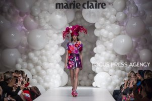 Model presents a creation by Hungarian designer Virág Kerényi as part of Marie Claire Fashion Days 2018 on Nov 3, 2018 at Millenáris in Budapest, Hungary.