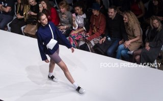 Model presents a creation by Hungarian designer INQ Concept as part of Marie Claire Fashion Days 2018 on Nov 3, 2018 at Millenáris in Budapest, Hungary.