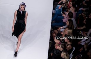 Model presents a creation by Hungarian designer Richard Alexander as part of Marie Claire Fashion Days 2018 on Nov 3, 2018 at Millenáris in Budapest, Hungary.
