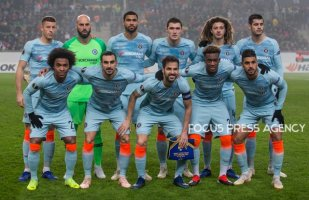 Team Chelsea FC before the UEFA Europa League Group L match between MOL Vidi FC and Chelsea FC at Groupama stadium on Dec 13, 2018 in Budapest, Hungary.