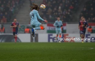 Ethan Ampadu in action during the UEFA Europa League Group L match between MOL Vidi FC and Chelsea FC at Groupama stadium on Dec 13, 2018 in Budapest, Hungary.