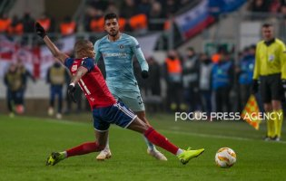 Loic Nego (L) in action during the UEFA Europa League Group L match between MOL Vidi FC and Chelsea FC at Groupama stadium on Dec 13, 2018 in Budapest, Hungary.